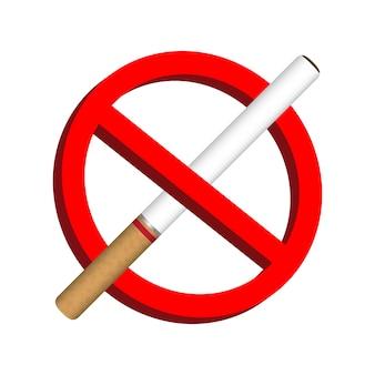 Ningún icono de cigarrillo de humo vector de signo de prohibición