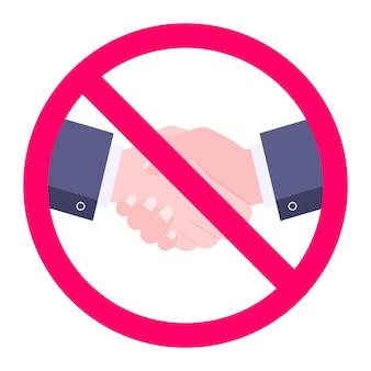 Ningún signo de icono de apretón de manos con las dos manos y el círculo rojo prohibido