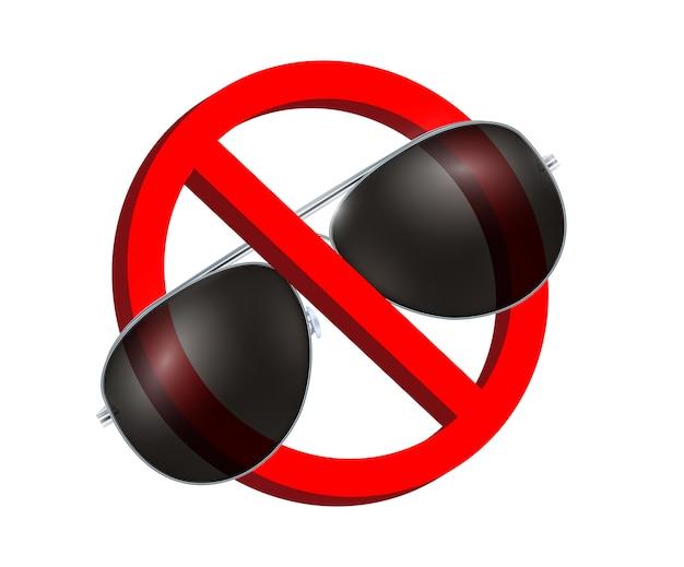 Ningún vector de signo de prohibición de gafas de sol negro