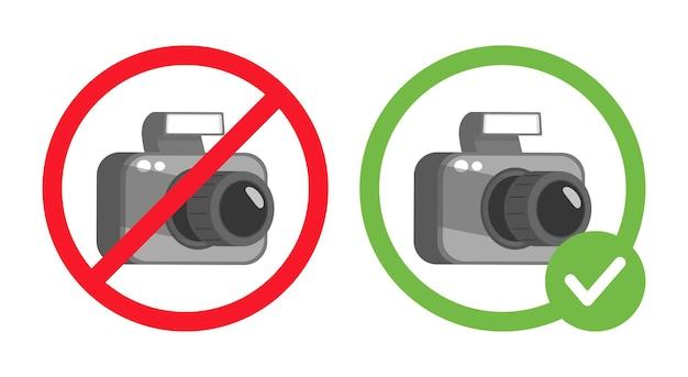 Ninguna señal de prohibición de fotografía y fotos permitidas ilustración plana vectorial