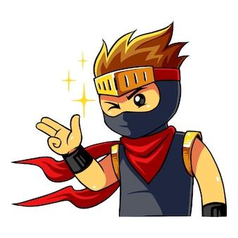 Ninja boy greetings pose.