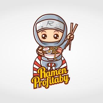 Ninja comiendo personaje de mascota de ramen