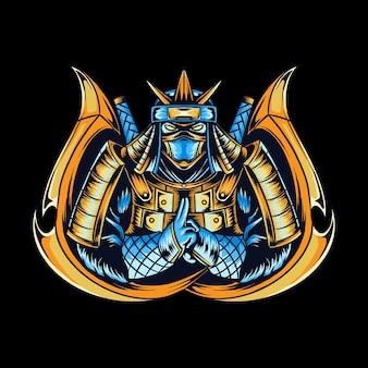 Ninja como logo de los jugadores de deportes