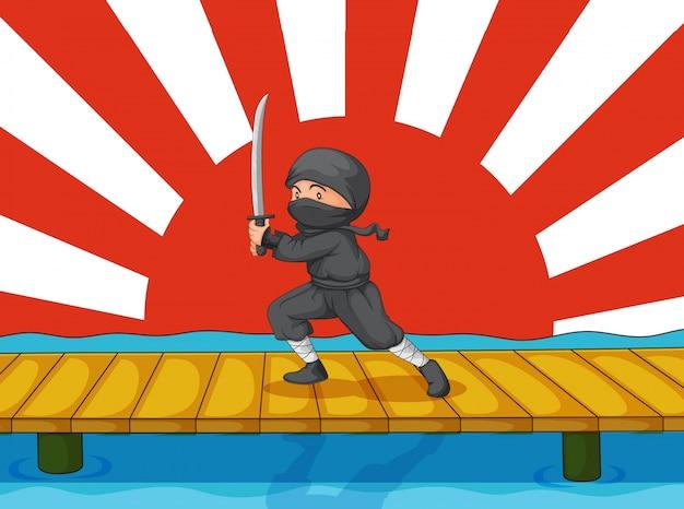 Ninja de dibujos animados
