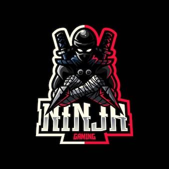 Ninja para esport y logo del equipo deportivo.