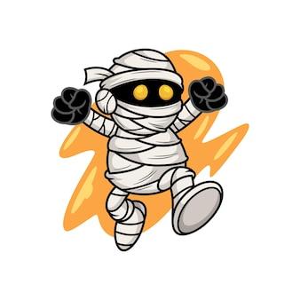 Ninja jump con dibujos animados de espada. ilustración de icono de vector de personas, aislado en vector premium