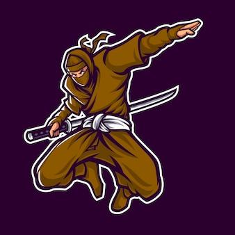 Ninja logo mascot character en fondo oscuro
