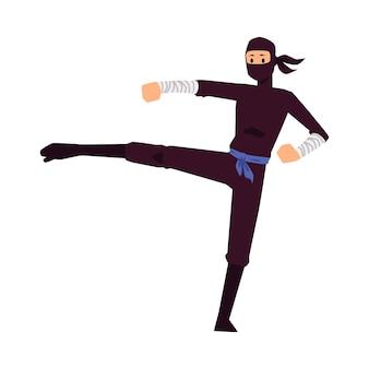Ninja man personaje de dibujos animados luchando movimiento o patada de karate