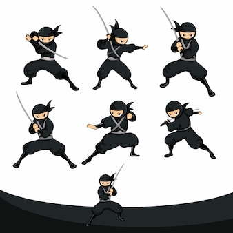 Ninja negro de dibujos animados listo para atacar con espada en versión real