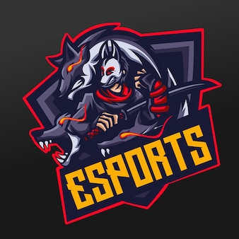 Ninja ronin samurai con mascota lobo diseño de ilustración deportiva para logo esport gaming team squad