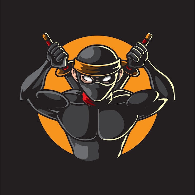 Ninja con samurai aislado en negro