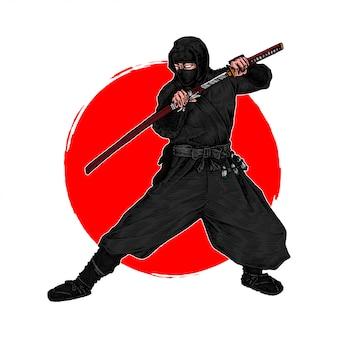 Un ninja shinobi en posición de luchar contra un enemigo con su katana, ilustración dibujada a mano
