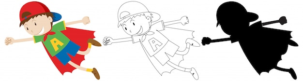 Niño actuando como un héroe con su contorno y silueta.