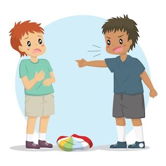 Un niño acusando a su amigo por desinflar la pelota. niños peleando personaje
