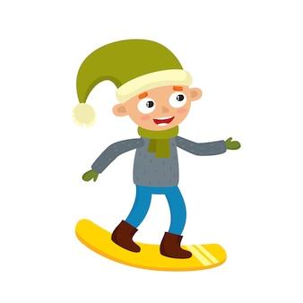 Niño adolescente de dibujos animados con snowboard, ilustración vectorial de dibujos animados en blanco