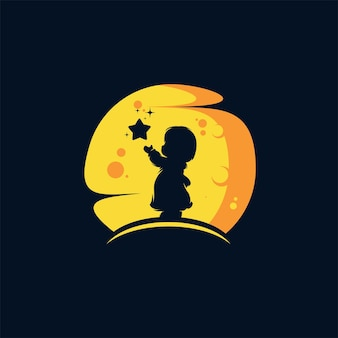Niño alcanzando la plantilla de estrella
