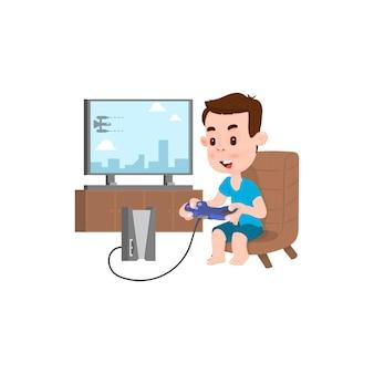 Niño alegre jugando videojuegos, estilo de dibujos animados de carácter plano.