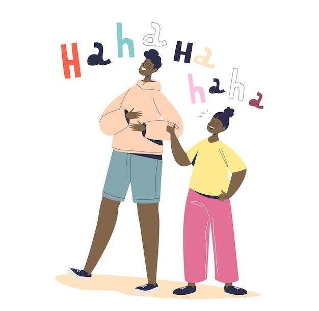 Niño alegre y niña feliz riendo contando historias divertidas o bromeando. el hombre y la mujer llenos de alegría se ríen a carcajadas, los amigos se comunican y se divierten juntos. ilustración de vector plano de dibujos animados