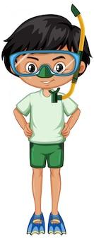 Niño con aletas y snorkel en blanco