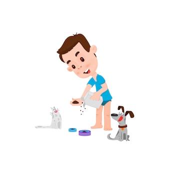 Niño alimentando gato mascota, estilo de dibujos animados de carácter plano.