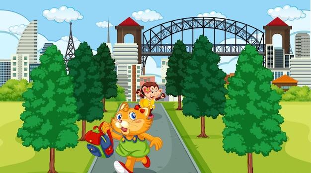 Niño animal en parque de la ciudad