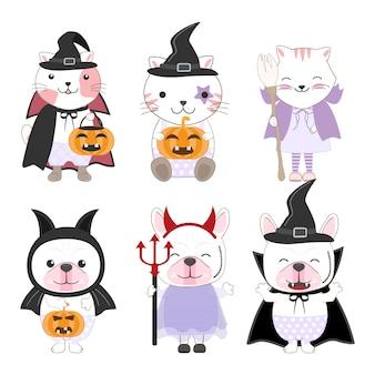 Niño animales dibujos animados halloween
