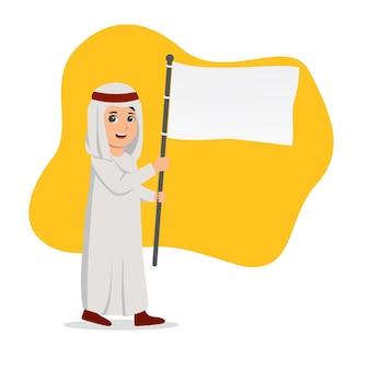 Niño árabe llevando una ilustración de bandera en blanco
