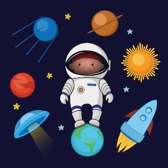 Niño astronauta en el espacio, cohete ovni planetas estrellas