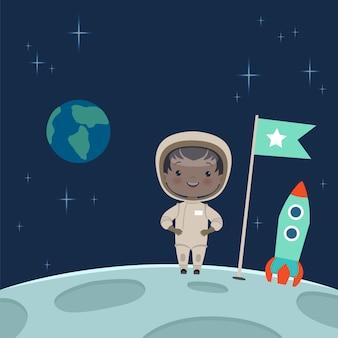 Niño astronauta de pie en la luna.