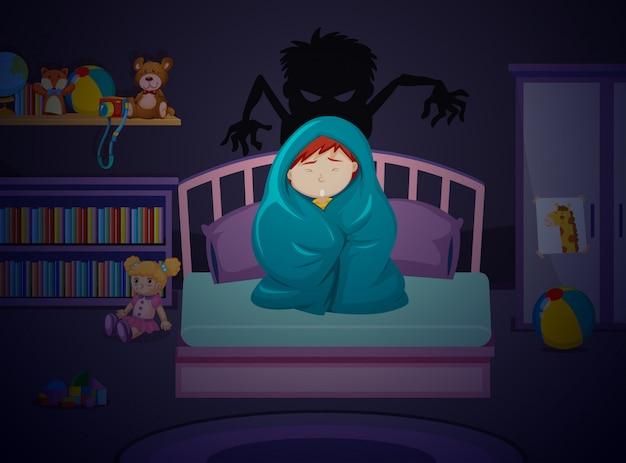 Un niño asustado de la oscuridad.