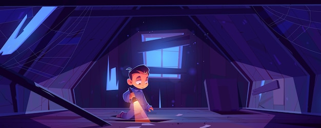 Niño en el ático de la casa abandonada en la noche