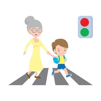 Niño ayudando a la señora mayor cruzando la calle aislada sobre fondo blanco ilustración.