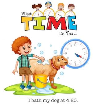 Un niño baña al perro a las 4:20