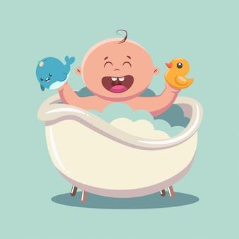 Niño en el baño con pompas de jabón y espuma.