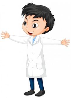 Niño en bata de ciencia en aislado