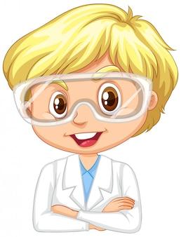 Niño en bata de ciencia en blanco
