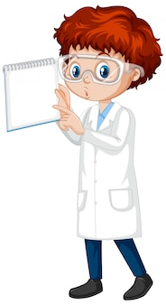Niño en bata de ciencia con cuaderno en blanco