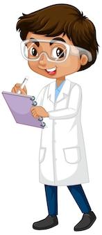 Niño en bata de ciencia