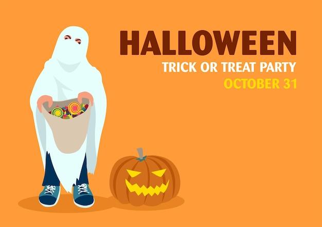 Niño con bolsa de dulces, invitación de fiesta de halloween feliz, ilustración de dibujos animados de vector