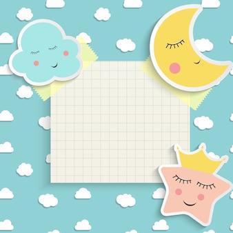 Niño buenas noches con nubes, estrellas y luna. lugar para el texto. ilustración