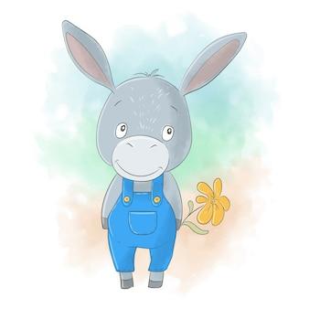 Niño de burro de dibujos animados lindo con una flor