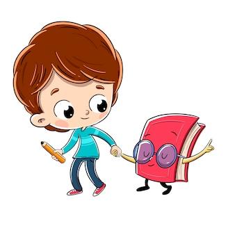 Niño caminando con un libro con gafas. él tiene un lápiz en la mano.