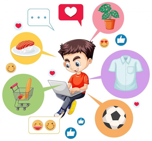 Niño con camisa roja buscando en la computadora portátil con el icono de búsqueda de personaje de dibujos animados aislado sobre fondo blanco.