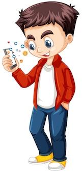 Niño en camisa roja con personaje de dibujos animados de teléfono inteligente aislado
