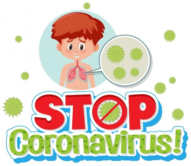 Niño con células de coronavirus pare el signo del virus corona