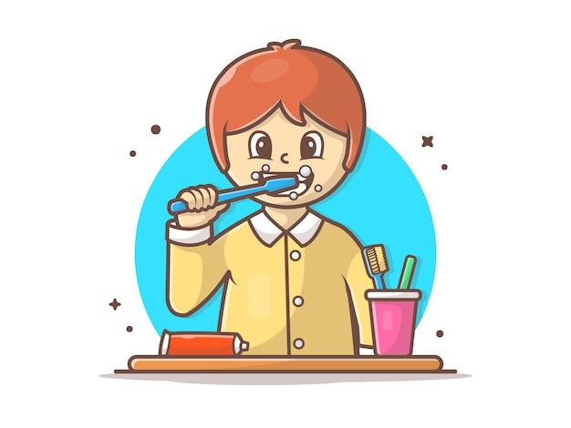 Niño cepillarse los dientes