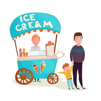 Niño cerca de dibujos animados vendedor de helados