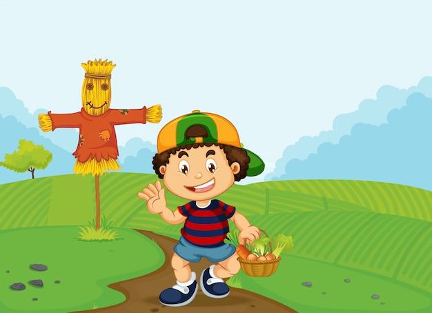 Un niño con cesta de verduras.