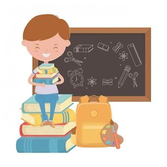 Niño chico de diseño escolar