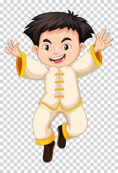Niño chino en traje tradicional blanco